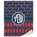 Anchors & Argyle Sherpa Throw Blanket (Personalized)