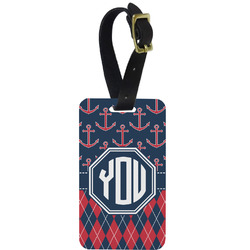 Anchors & Argyle Aluminum Luggage Tag (Personalized)