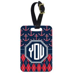 Anchors & Argyle Aluminum Luggage Tag (Personalized)