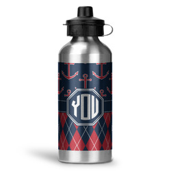 Anchors & Argyle Water Bottle - Aluminum - 20 oz (Personalized)