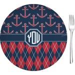 "Anchors & Argyle Glass Appetizer / Dessert Plates 8"" - Single or Set (Personalized)"