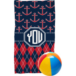 Anchors & Argyle Beach Towel (Personalized)