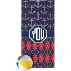 Anchors & Argyle Beach Towel (Personalized)