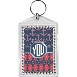 Anchors & Argyle Bling Keychain (Personalized)