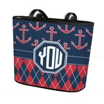 Anchors & Argyle Bucket Tote w/ Genuine Leather Trim (Personalized)