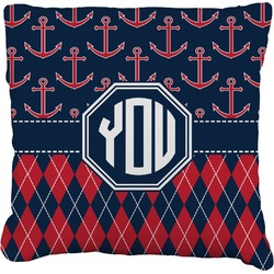 Anchors & Argyle Faux-Linen Throw Pillow (Personalized)