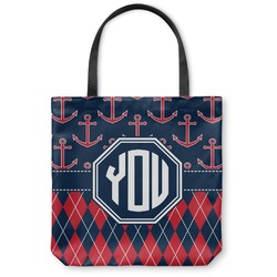 Anchors & Argyle Canvas Tote Bag (Personalized)