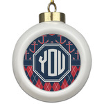 Anchors & Argyle Ceramic Ball Ornament (Personalized)