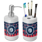 Anchors & Argyle Bathroom Accessories Set (Ceramic) (Personalized)