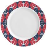 Anchors & Argyle Ceramic Dinner Plates (Set of 4) (Personalized)