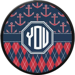 Anchors & Argyle Round Trailer Hitch Cover (Personalized)
