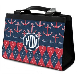 Anchors & Argyle Classic Tote Purse w/ Leather Trim (Personalized)