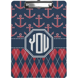 Anchors & Argyle Clipboard (Personalized)