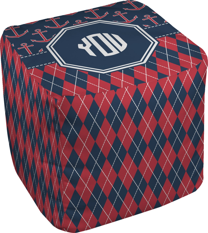 anchors argyle cube pouf ottoman 18 personalized. Black Bedroom Furniture Sets. Home Design Ideas