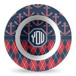 Anchors & Argyle Plastic Bowl - Microwave Safe - Composite Polymer (Personalized)