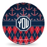 Anchors & Argyle Microwave Safe Plastic Plate - Composite Polymer (Personalized)