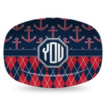 Anchors & Argyle Plastic Platter - Microwave & Oven Safe Composite Polymer (Personalized)