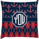 Anchors & Argyle Decorative Pillow Case (Personalized)