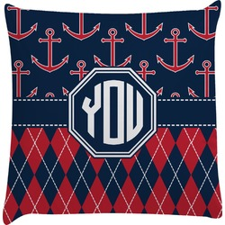 Anchors & Argyle Decorative Pillow Case (Personalized)