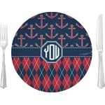 """Anchors & Argyle Glass Lunch / Dinner Plates 10"""" - Single or Set (Personalized)"""