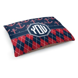Anchors & Argyle Dog Pillow Bed (Personalized)