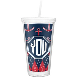 Anchors & Argyle Double Wall Tumbler with Straw (Personalized)