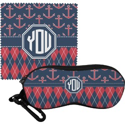 Anchors & Argyle Eyeglass Case & Cloth (Personalized)