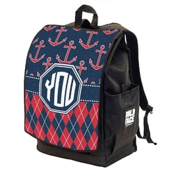 Anchors & Argyle Backpack w/ Front Flap  (Personalized)