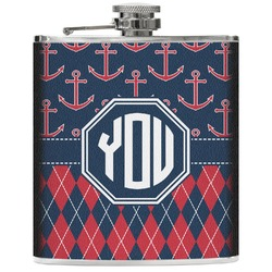 Anchors & Argyle Genuine Leather Flask (Personalized)