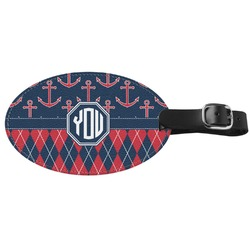 Anchors & Argyle Genuine Leather Oval Luggage Tag (Personalized)