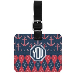 Anchors & Argyle Genuine Leather Rectangular  Luggage Tag (Personalized)