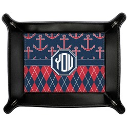Anchors & Argyle Genuine Leather Valet Tray (Personalized)
