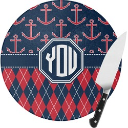 Anchors & Argyle Round Glass Cutting Board (Personalized)