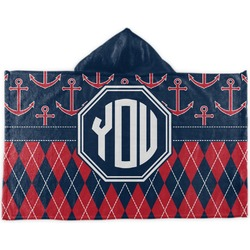 Anchors & Argyle Kids Hooded Towel (Personalized)