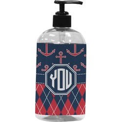 Anchors & Argyle Plastic Soap / Lotion Dispenser (Personalized)