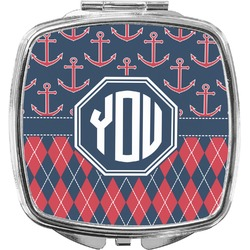 Anchors & Argyle Compact Makeup Mirror (Personalized)