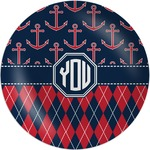 Anchors & Argyle Melamine Plate (Personalized)