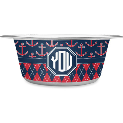 Anchors & Argyle Stainless Steel Dog Bowl (Personalized)
