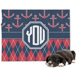 Anchors & Argyle Minky Dog Blanket (Personalized)