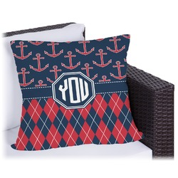 Anchors & Argyle Outdoor Pillow (Personalized)