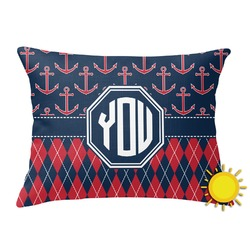 Anchors & Argyle Outdoor Throw Pillow (Rectangular) (Personalized)