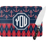 Anchors & Argyle Rectangular Glass Cutting Board (Personalized)