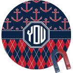 Anchors & Argyle Round Fridge Magnet (Personalized)