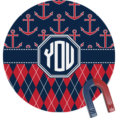 Anchors & Argyle Round Magnet (Personalized)
