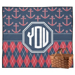 Anchors & Argyle Outdoor Picnic Blanket (Personalized)