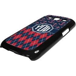 Anchors & Argyle Plastic Samsung Galaxy 3 Phone Case (Personalized)