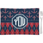 Anchors & Argyle Glass Rectangular Appetizer / Dessert Plate - Single or Set (Personalized)