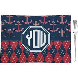 Anchors & Argyle Glass Rectangular Appetizer / Dessert Plate - Single or Set (Personalized)