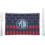 Anchors & Argyle Glass Rectangular Lunch / Dinner Plate - Single or Set (Personalized)