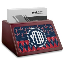 Anchors & Argyle Red Mahogany Business Card Holder (Personalized)